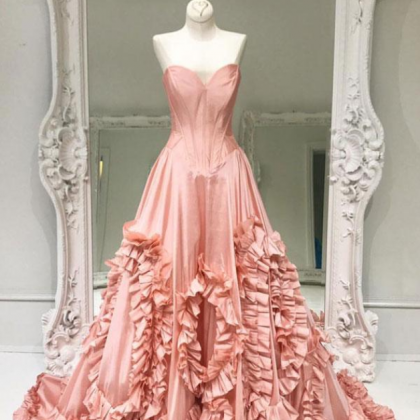 Unique pink satin prom dress, long..