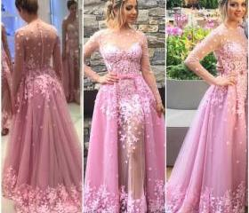 Pink Lace Prom Gowns..