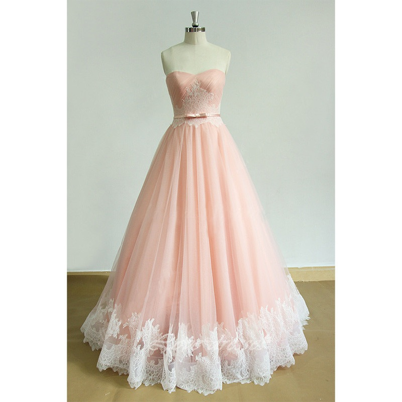 prom dresses,sexy prom dress,pink tulle long lace appliques bridesmaid dress for teens, sweetheart senior prom dress with sash