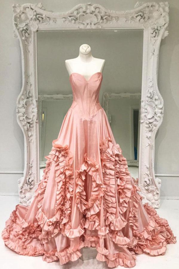 Unique pink satin prom dress, long prom dress, pink evening dress,party dress,homecoming dress