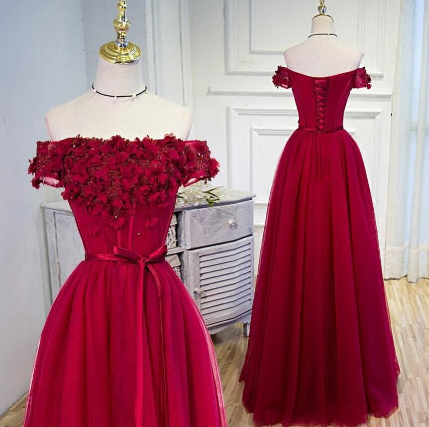 f300925fbe58 Off Shoulder Wine Red Prom Dress, Floral Tulle Gowns, Formal Dresses with  Lace-
