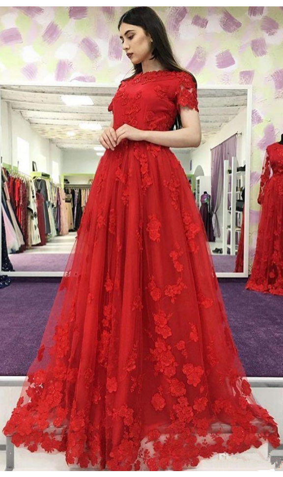 731071107ce Charming Red Lace Prom Dresses Short Sleeve Lace Applique A Line South  African Evening Formal Dress