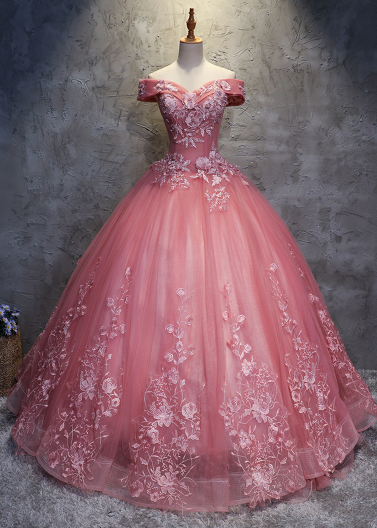 Off Shoulder Pink Tulle Long Handmade Evening Dress, Long Ball Gown ...