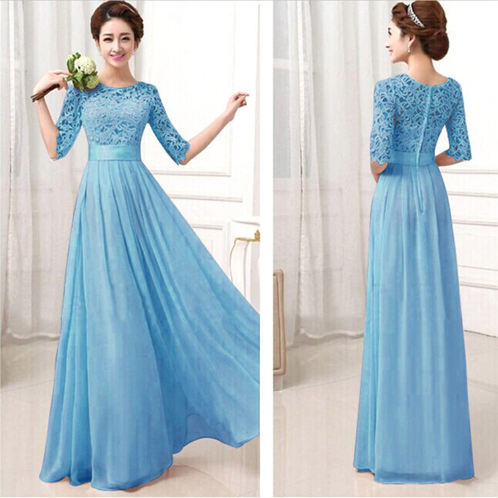505edd376f9 Light Blue Lace Maxi Dress With Sleeves - Gomes Weine AG