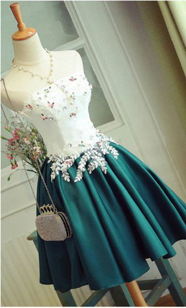 Special Deep Jade Dress,Short Prom Dress With Appliques,Strapless Short Homecoming Dress,Stain Cocktail Dress,Short Party Gown