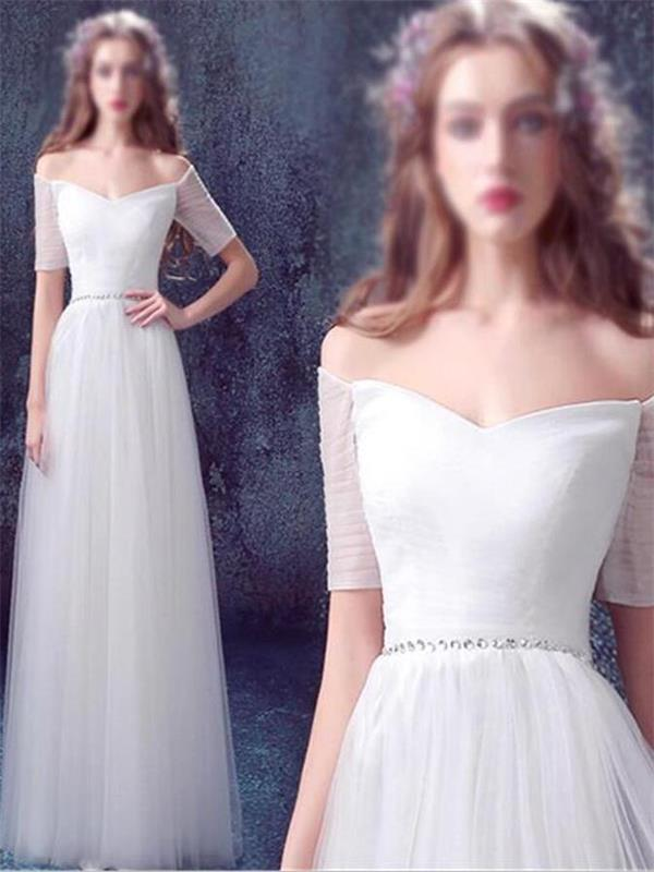White Wedding Dress ,Tulle Wedding Dress , Off Shoulder Wedding Dress ,A-line Wedding Dress ,Lace Up Back Wedding Dress ,Prom Dress,Custom Made Wedding Dress