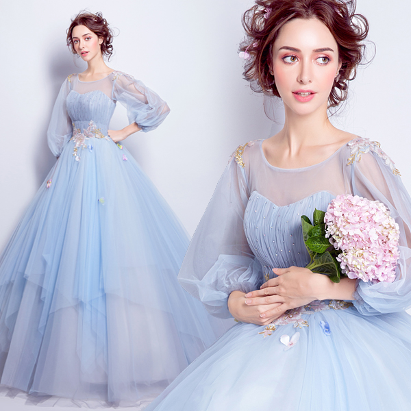 56f23e373ff7 Fashion Sweet Light Blue Dress, Flower Fairy Dress,Princess Prom Dress  ,Transparent Long