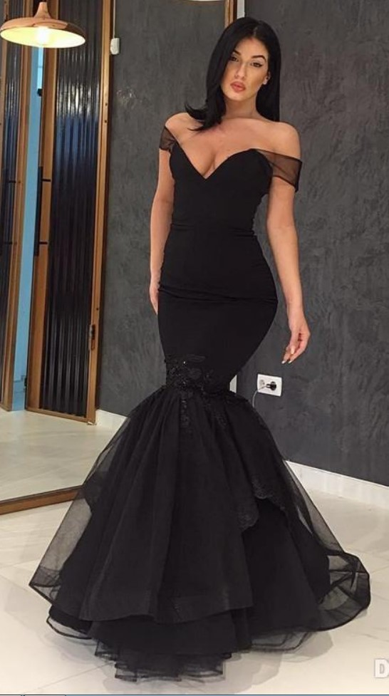 1b8927aa388bf 2018 New Design Black Dress Evening Wear Off The Shoulder Mermaid Prom Gowns  Floor Length Lace