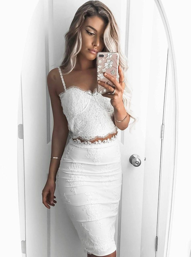 Homecoming Dresses Lace Homecoming Dresses Two Piece White Party Dress Lace White Party Dress