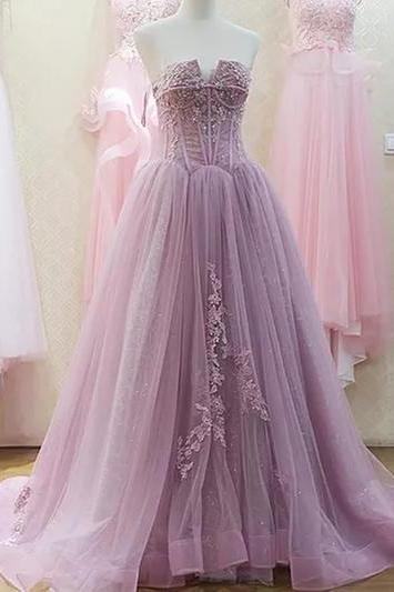 A-line Strapless Sweep,Brush Train Sleeveless Tulle Prom Dress,Evening Dress,Purple Party Dress