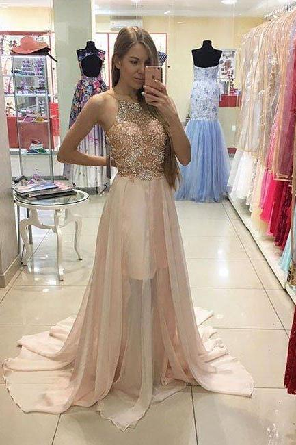prom dresses,New Arrival pink sequin beaded long prom dress,evening dress,lace dresses
