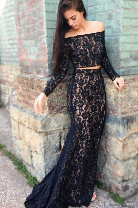 Two Piece Black Lace Long Sleeve Sexy Mermaid Prom Dress with Beadings Homecoming Dresses
