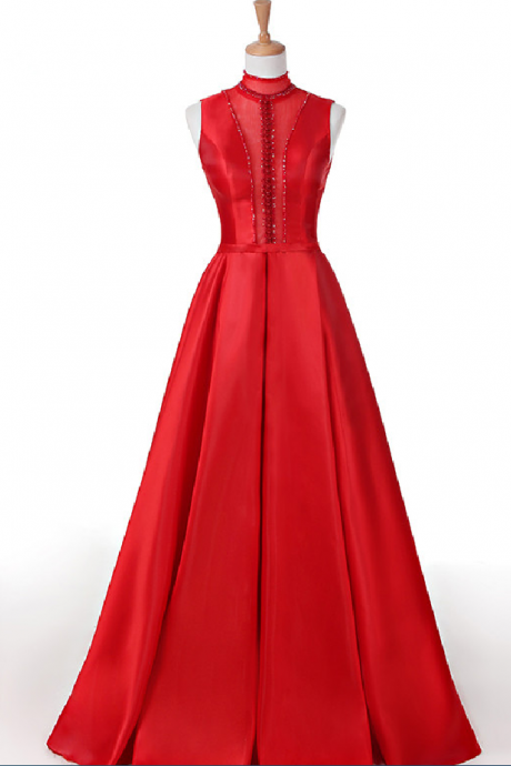Custom Made Red High Neck Sequin Satin Lace-Up Open Back A-Line Prom Dress Party Dress