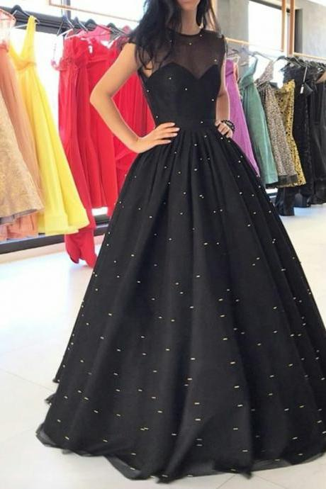 Shinning Neck Black Ball Gown Prom Dresses with Sparkly Sequins Tulle Long Evening Dresses Formal Gowns