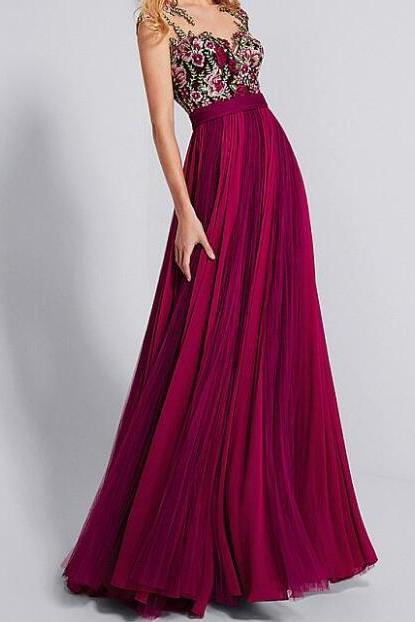 Chiffon Shining Neckline A-line Prom Dress With Lace Appliques