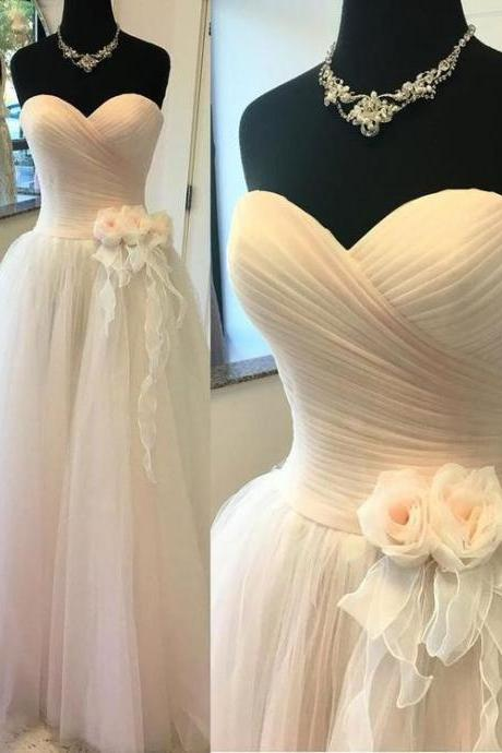 A-line Sweetheart Floor-Length Tulle Wedding Dresses With Flowers,Sexy Formal Evening Dress,Custom Made