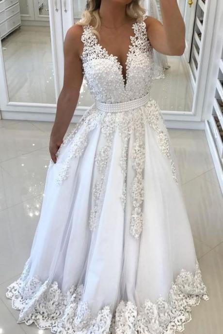 Elegant V-neck , Sleeveless Wedding Dress,Lace Applique Bridal Gowns,Floor Length Wedding Dress Prom,Evening Dress ,Customize Made,