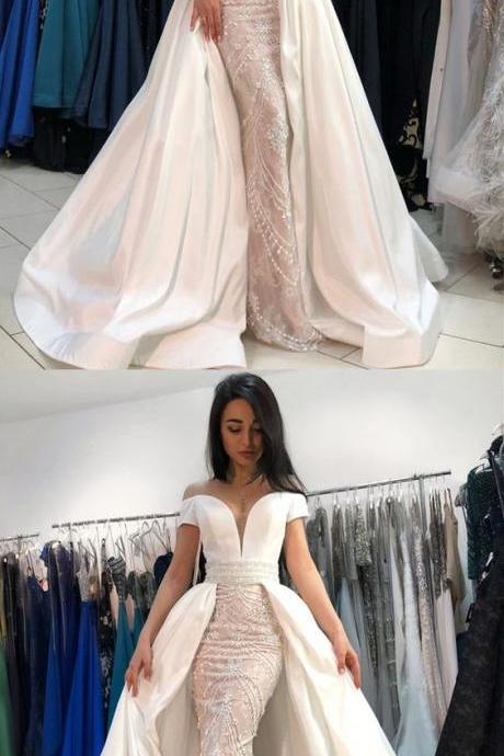 Mermaid Off-the-Shoulder, Short Sleeves Prom Dress with Beading, Luxury Wedding Dress, Affordable Prom Dress,Customize Made,2018 New Fashion