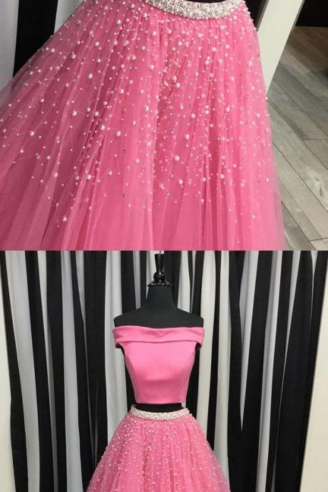 Marvelous Pink Dress, Two Piece Prom Dress, Featuring Boat Neck Dress, Tulle Skirt,Formal Party Dress, Sweethearts Dress,Formal Party Dress