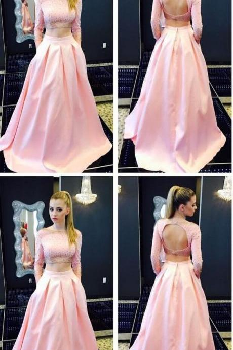 Pink Two Pieces Prom Dress,Long Sleeves Evening Dress, Backless Evening Dress,Party Dress, Formal Women Dress ,New Fashion,Party Gown,Custom Made
