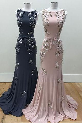 Stylish Round Dress, Neck Mermaid Beads Dress, Long Prom Dress, Evening Dress, Formal Party Dress, Custom Made Size