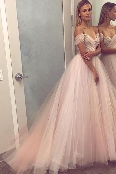 Pink Off Shoulder Dress,Tulle Dress, Long Prom Dress, Evening Dress, Formal Party Dress, Custom Made Size