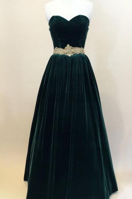 Green Prom Dress, Ball Gown, Evening Gown,Velvet Dress, Strapless Dress, Vintage Style Dress ,Formal Party Dress, Custom Made Size