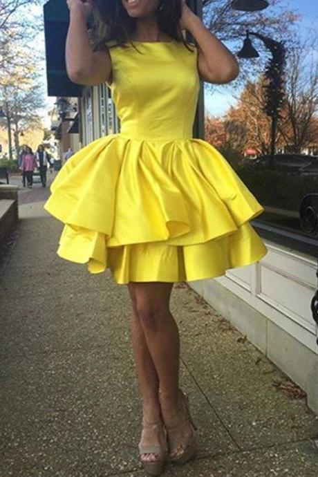 Short Homecoming Dress,Homecoming Dress,Yellow Homecoming Dresses,Short Prom Dress,Satin Prom Dress,Custom Dress