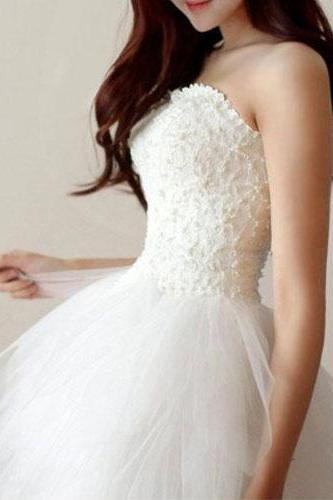 White Wedding Dress,White Homecoming Dress,Short Homecoming Dress,Tulle Prom Dress