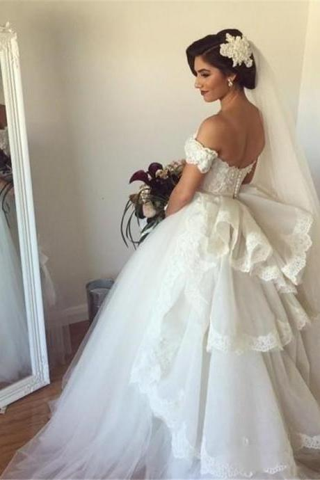Wedding Dress, Off-the-shoulder Wedding Dress, Lace Wedding Dress, Ball gown Wedding Dress, Elegant Wedding Dress, Bridal Dress, Ball Gown Bridal Dress, Bridal Gown