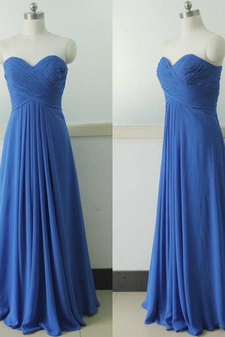 Sweetheart Chiffon Bridesmaid Dress, Floor Length Bridesmaid Gown ,Royal Blue Bridesmaid Dress, Prom Party Gown, Wedding Party Gown, Beach Wedding Bridesmaid dress