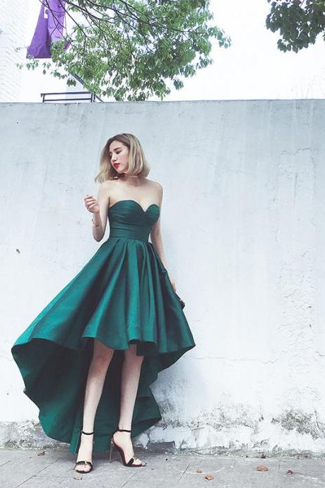 Elegant Prom Dress, Forest Green Satin Dress,Ruched Sweetheart Dress,High Low Ruffled Bridesmaid Dress, Evening Dress,Women Dress, Formal Dress,Custom Dress