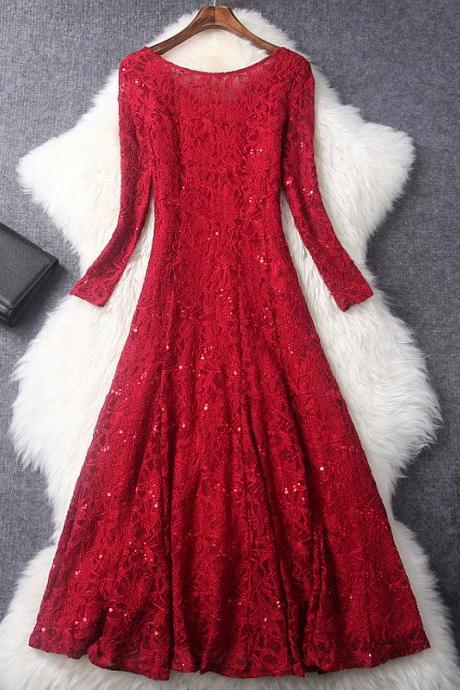 Long Sleeves Dress,Red Women Dress,Fashion Dress,Designer Sequined Embroidered Lace Dress, Party Dress ,Formal Dress,Custom Dress