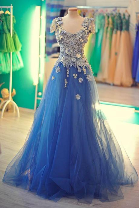 Charming Prom Dress, Blue Prom Dress,Elegant Prom Dress, Tulle Prom Dress, Formal Evening Dress,Custom Prom Dress