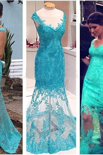 Charming Prom Dress,Lace Prom Dress,Blue Prom Dress,Long Prom Dress,Evening Dress,Appliques Prom Dress,Mermaid Prom Dress,Custom Prom Dress
