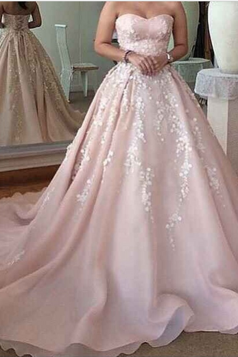 Romantic Wedding Dress,Sweetheart Prom Dress,Appliques Prom Dress,Lace-Up Wedding Dress,Elegant Prom Dress, Custom Prom Dress