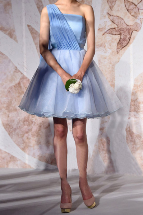 Cheap Homecoming Dress, Short Tulle A-Line Dress,Blue Homecoming Dress, Featuring Strapless Dress