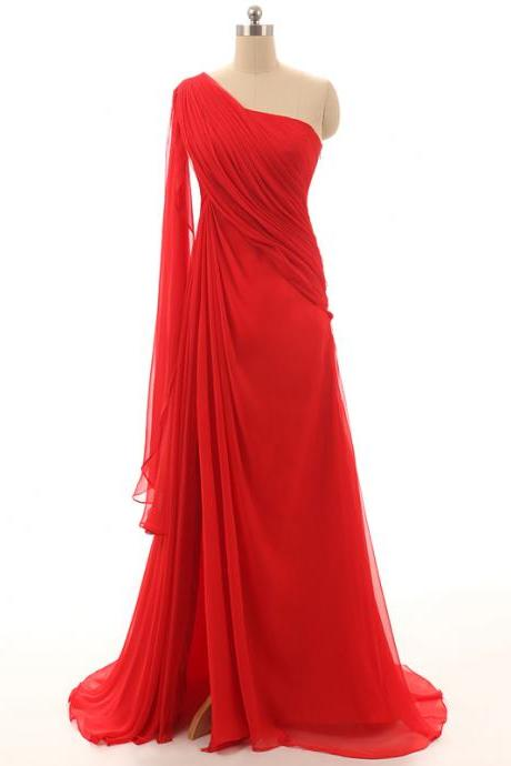 Elegant Evening Dress, Cheap Prom Dress,Simple Red Dress,Sexy One Shoulder Dress,Long Prom Dress, Party Formal Gown