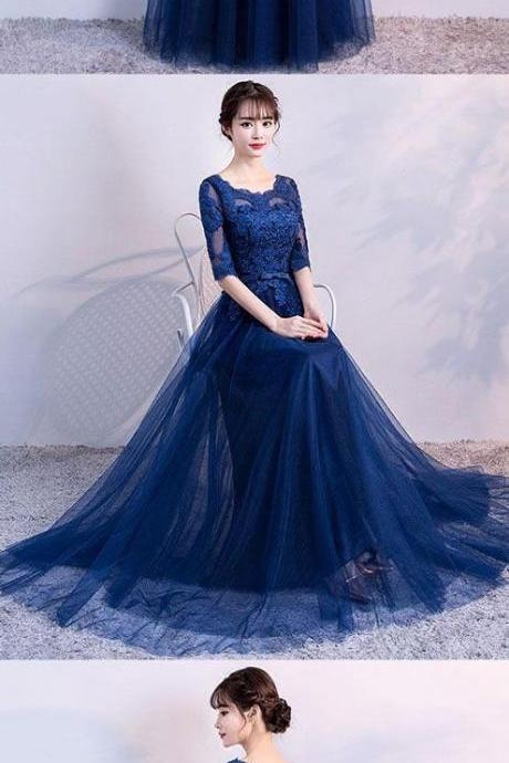 Blue Tulle Long Prom Dress, Lace Evening Dress, Blue Bridesmaid Dress, Wedding Party Dress,Custom Prom Dress