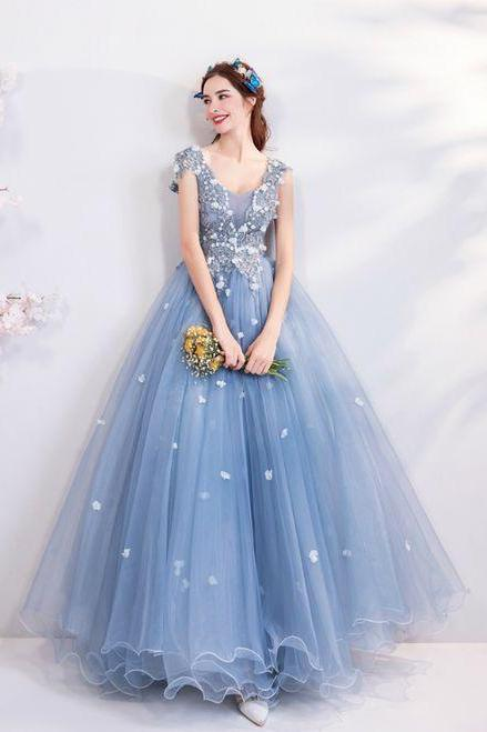 Blue V-neck Tulle Quinceanera Dress,Party Gown,Cheap Evening dress,Custom Prom Dress