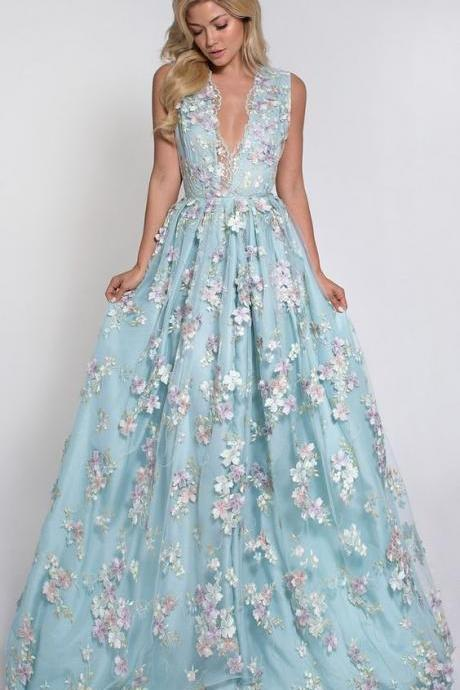Blue Fairy Floral Dress,Embroidered Prom Dress,Princess Prom Dress,Charming Prom Dress,Party Dress,Custom Prom Dress