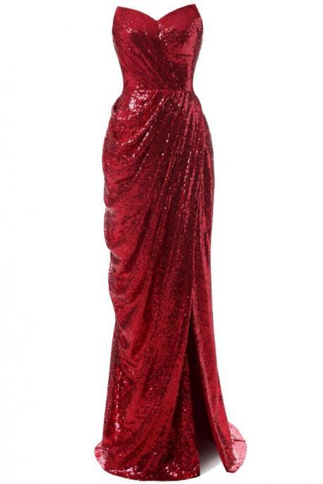 Red Sequin Dress,Long Evening Dress,Party Dress,Formal Dress,2018 New Fashion,Custom Prom Dress