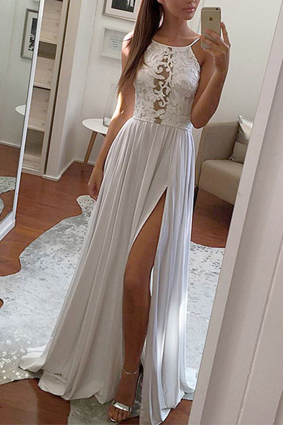 Simple grey chiffon long lace slit prom dress, see through evening dress