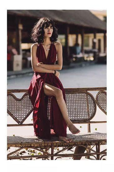Open Back Burgundy Prom Dress,Sexy Evening Dress,Fashion Party Dress