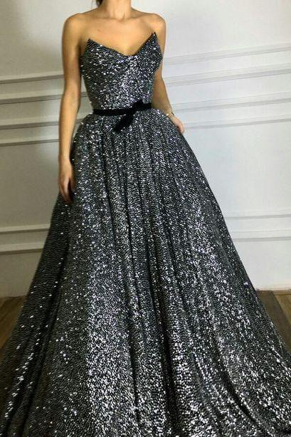 A-line sweetheart floor-length black sequined prom dress