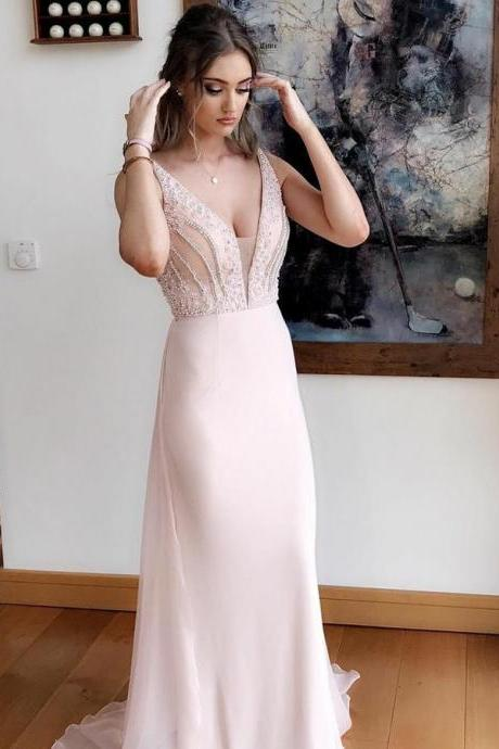 Pink Prom Dress, V Neck Prom Dress, Prom Dress Chiffon