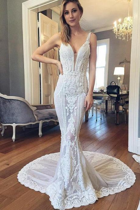 Appliques Party Dresses, A-Line Wedding Dress, Champagne Wedding Dress