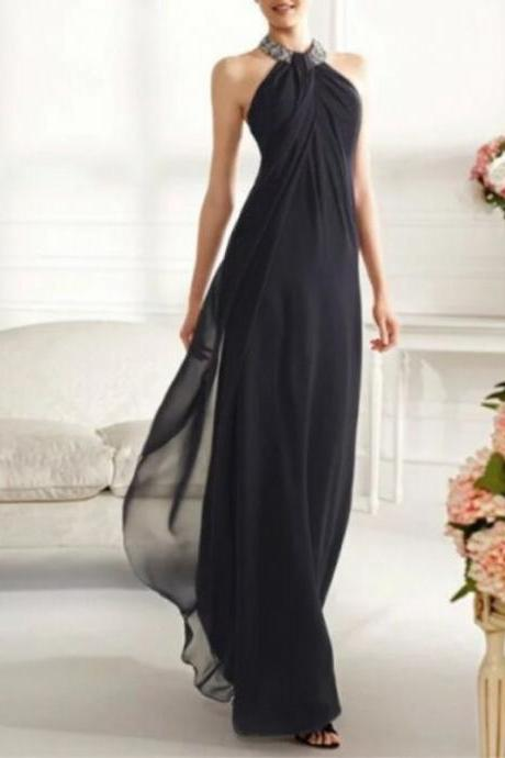 New Charming Sexy Evening Dress Halter Long Chiffon Evening Dress Floor Length Prom Dresses High Quality Party Dress