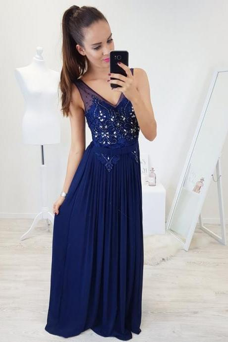 V-Neck Party Dresses, Party Dresses With Appliques, Party Dresses A-Line, Blue Party Dresses