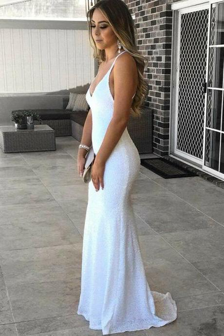 Prom Dresses 2018, Backless Prom Dresses, Prom Dresses Mermaid, Prom Dresses White